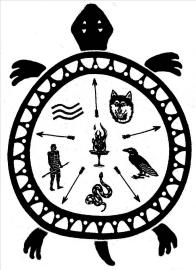 NOMC LOGO: Wolf, Crow, Snake, Bravemen and Spirit Clans. Foundation, Turtle, with fire in the belly. The Turtle was the first clan in 1990, now retired.
